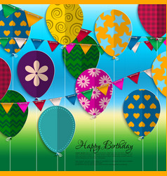 birthday card with paper balloons bunting flags vector image