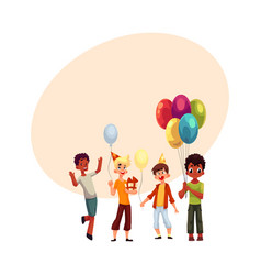 black and caucasian boys kids with balloons vector image