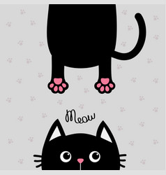 black cat funny face head silhouette meow text vector image