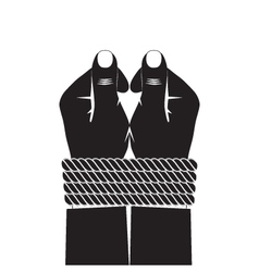Black silhouette of the hands tied by a rope vector image