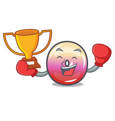 boxing winner jelly ring candy mascot cartoon vector image