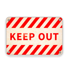 bright glossy red and white metal plate keep out vector image