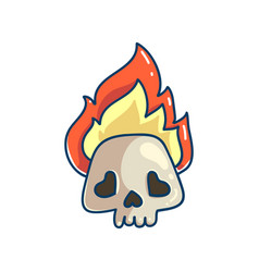burning skull icon vector image