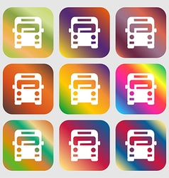 Bus icon sign Nine buttons with bright gradients vector
