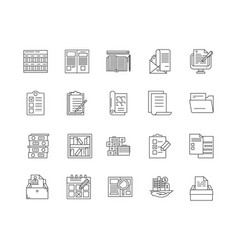 Business directory line icons signs set vector