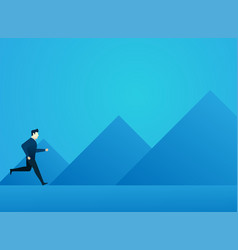 Business man concept people run to goal with vector