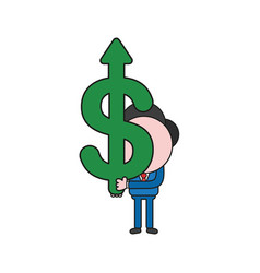 Businessman character holding dollar arrow moving vector