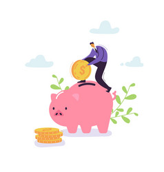 businessman saving money in piggy bank financial vector image