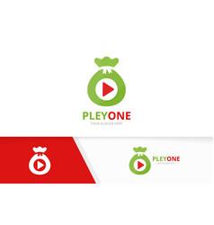 Button play and bag logo combination vector