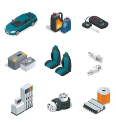 Car isometric elements Car service maintenance vector image