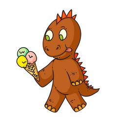 cartoon dinosaur eating ice-cream isolated vector image
