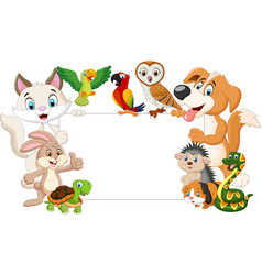 cartoon pets holding blank sign vector image
