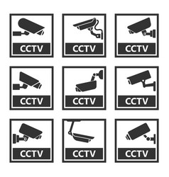cctv sign security camera stickers vector image