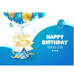 celebrating 25 th years birthday 3d vector image