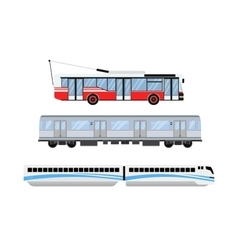 City road tram and trolleybus transport vector