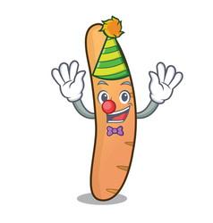 Clown baguette mascot cartoon style vector