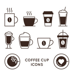 coffee and tea cups linear icons set vector image