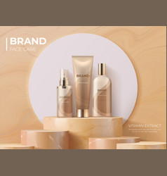 Cosmetic product on pedestal realistic banner vector