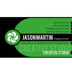 Creative green business card vector