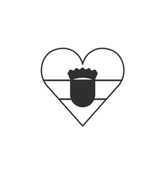 croatia flag icon in a heart shape in black vector image