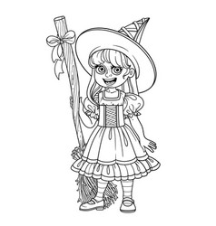 cute girl in witch costume outlined for coloring vector image