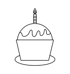 Delicious cupcake celebration isolated icon vector