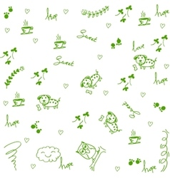 Dog and owl doodle art vector