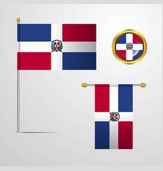 Dominican republic waving flag design with badge vector