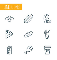 eating icons line style set with lemonade meat vector image