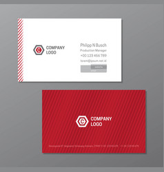 Elegant name card template red and white name vector
