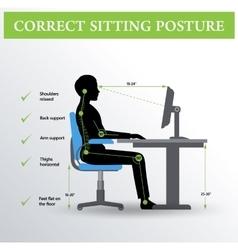 Ergonomics Correct sitting posture vector