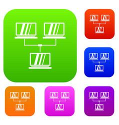 Exchange of data between computers set collection vector