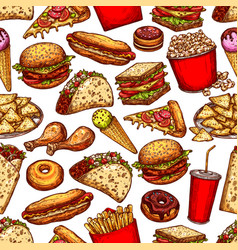 Fast food junk meal and drinks seamless pattern vector