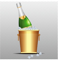 festive cold bottle of champagne in ice bucket on vector image