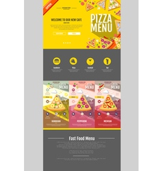 Flat style pizza menu concept Web site design vector image