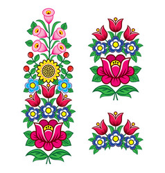 Floral polish folk art design elements vector