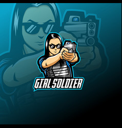 Girl soldier esport mascot logo vector