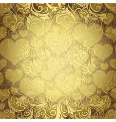 Gold seamless valentine pattern vector image