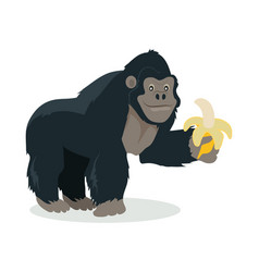 gorilla cartoon icon in flat design vector image