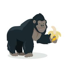 Gorilla cartoon icon in flat design vector