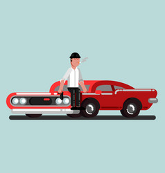 guy with gun sitting on car vector image