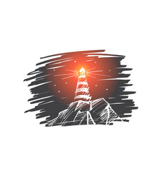 hand drawn beacon lighting at night vector image