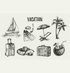 hand drawn vintage travel vacation set sketch vector image