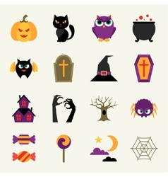 Happy halloween icon set in flat design style vector image