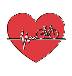Heart cardio with bicycle vector