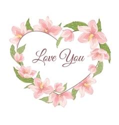 Heart shape pink magnolia sakura hellebore flowers vector