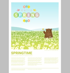 Hello spring landscape background with bear 3 vector image