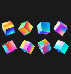holographic realistic 3d metal cube set neon vector image