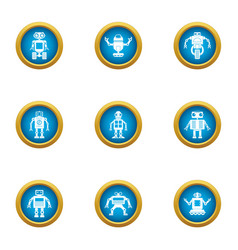 Humanoid icons set flat style vector