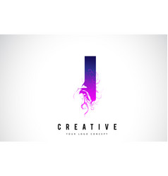 I purple letter logo design with liquid effect vector